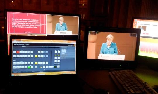 Livebroadcast Bundeskanzlerin Angela Merkel Berlin